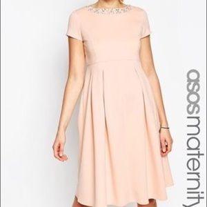ASOS Blush Jeweled Maternity Dress